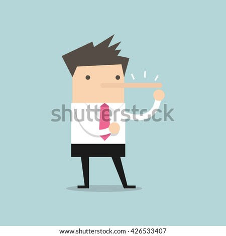 Lying businessman with long nose vector - stock vector