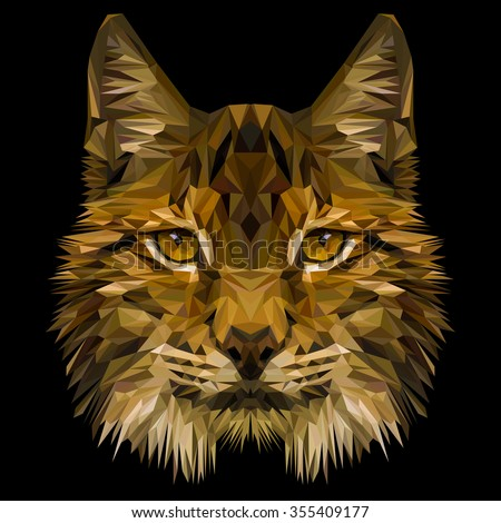 Lynx cat animal low poly design. Triangle vector illustration. - stock vector