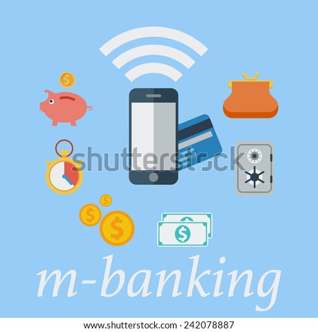 M-banking. Color Flat design style. Vector illustration. - stock vector