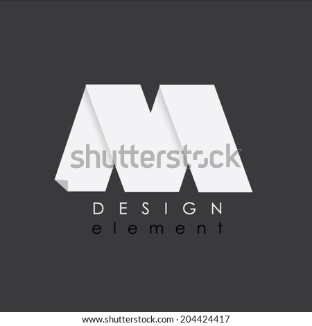 M letter design element in flat design style for business - stock vector