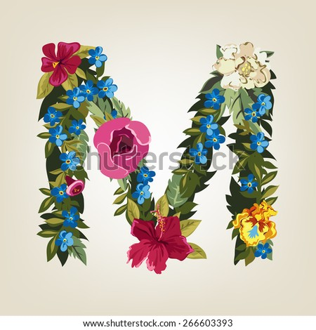 M letter. Flower capital alphabet. Colorful font. Uppercase.  Vector illustration. - stock vector