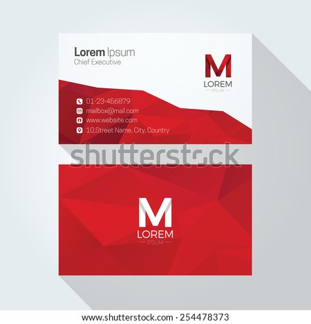 M Letter Logo Abstract Polygonal Background Business card template - stock vector