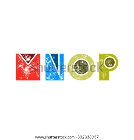 M N O P - Abstract grunge retro alphabet from simple geometric shapes - Colorful capital letters - Typography and infographic resource - stock vector