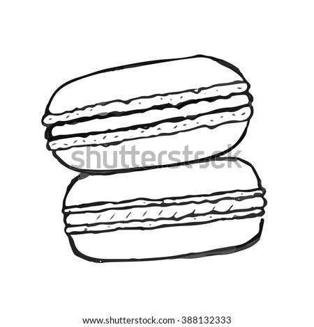 Macaron doodle. Set of vector hand drawn elements - stock vector