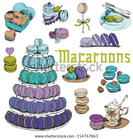 Macaroons and and Dessert Collection - for design and scrapbook - hand drawn in vector - stock vector