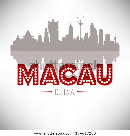 Macau China skyline silhouette vector design. - stock vector