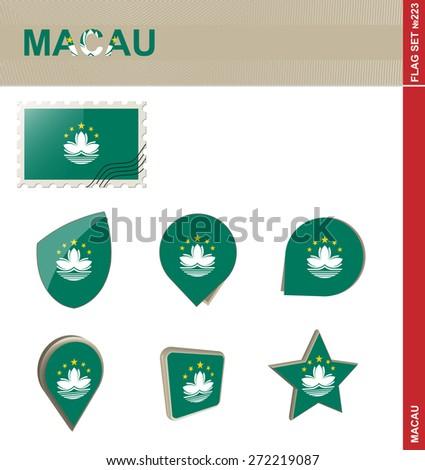 Macau Flag Set, Flag Set #223. Vector. - stock vector
