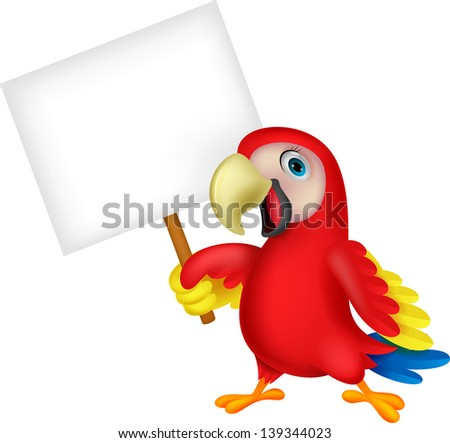 Macaw bird with blank sign - stock vector