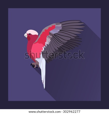 Macaw parrot flying. Flat style - vector illustration - stock vector