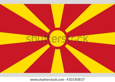 Macedonia flag official proportions correct, the rays of a sun stylish vector illustration EPS10 - stock vector