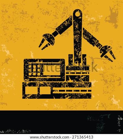 Machine,Industry design on yellow background,grunge vector - stock vector