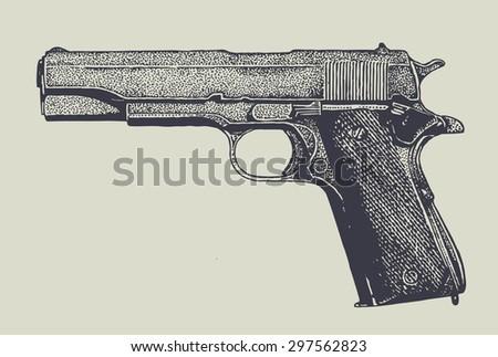 machine pistol. vector illustration. - stock vector