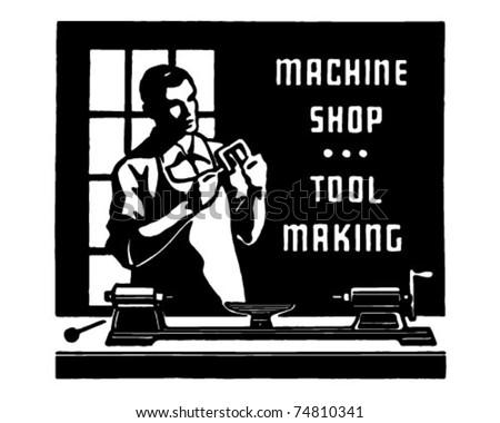 Machine Shop - Retro Ad Art Banner - stock vector