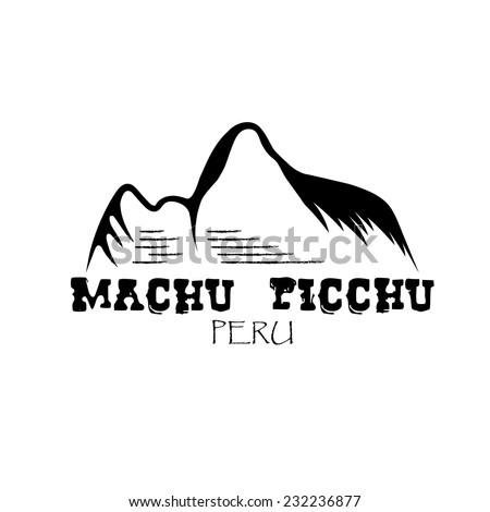 Machu Picchu mountain of Peru vector design template - stock vector