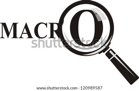 Macro. Magnifying glass on background - stock vector
