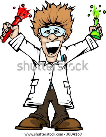 mad scientist - stock vector