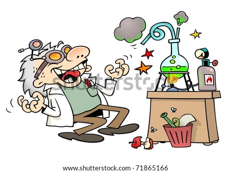 Mad scientist laughing insanely by his laboratory desk - stock vector