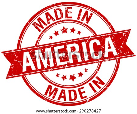 made in America red round vintage stamp - stock vector