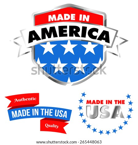 Made in America Shield and Made in the USA Banner - Isolated - stock vector