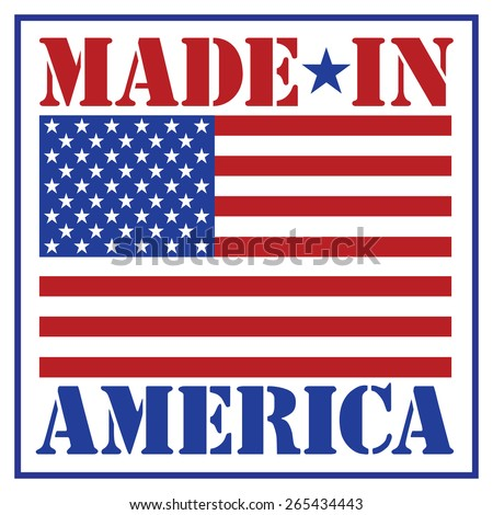 Made in America text design with the American flag. - stock vector