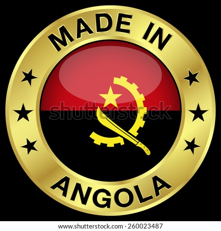 Made in Angola gold badge and icon with central glossy Angolan flag symbol and stars. Vector EPS 10 illustration isolated on black background. - stock vector