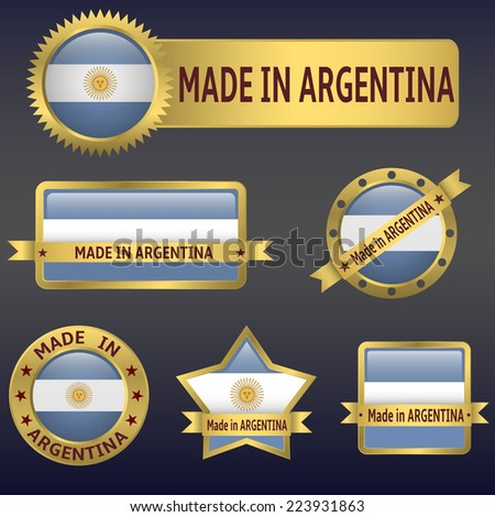 made in Argentina labels,stickers,flags. Vector illustration. - stock vector