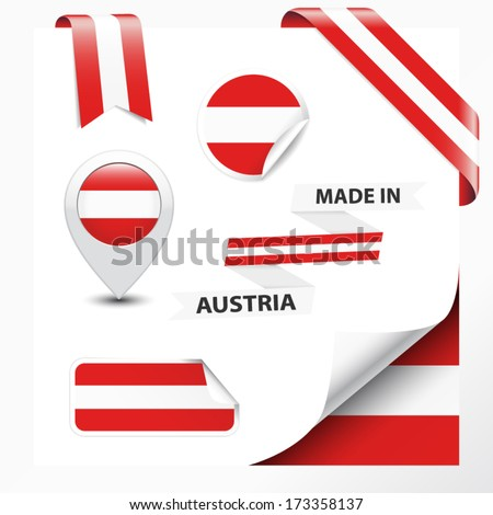 Made in Austria collection of ribbon, label, stickers, pointer, badge, icon and page curl with Austrian flag symbol on design element. Vector EPS10 illustration isolated on white background. - stock vector
