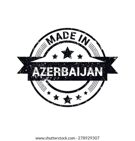 Made in Azerbaijan - Round black grunge rubber stamp design isolated on white background. vector illustration vintage texture. - stock vector