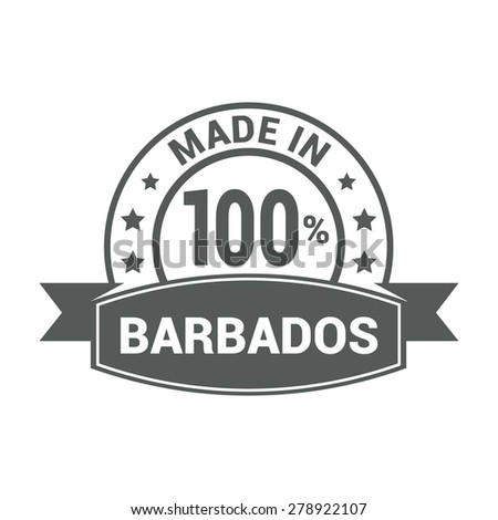 Made in Barbados - Round gray rubber stamp design isolated on white background. vector illustration vintage texture. - stock vector
