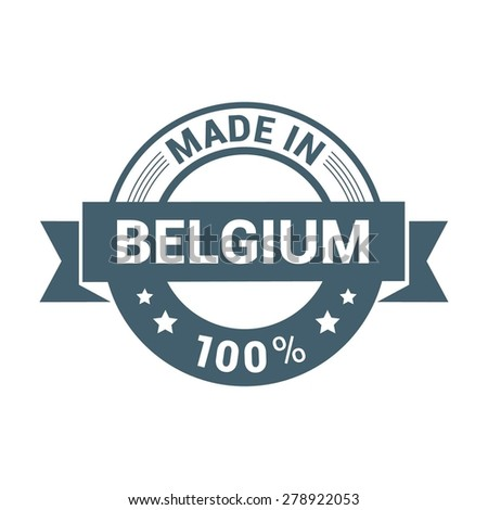 Made in Belgium - Round blue rubber stamp design isolated on white background. vector illustration vintage texture. - stock vector
