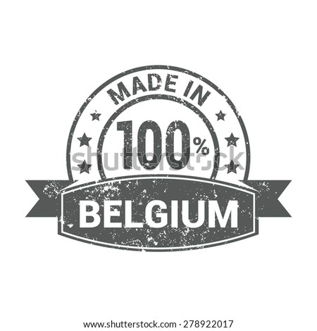 Made in Belgium - Round gray grunge rubber stamp design isolated on white background. vector illustration vintage texture. - stock vector