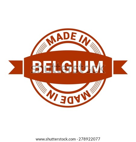 Made in Belgium - Round red rubber stamp design isolated on white background. vector illustration vintage texture. - stock vector