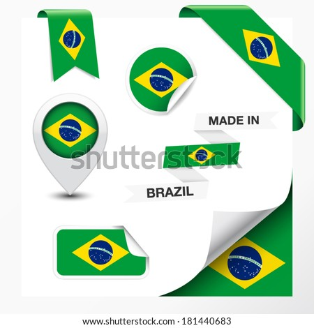Made in Brazil collection of ribbon, label, stickers, pointer, badge, icon and page curl with Brazilian flag symbol on design element. Vector EPS 10 illustration isolated on white background. - stock vector