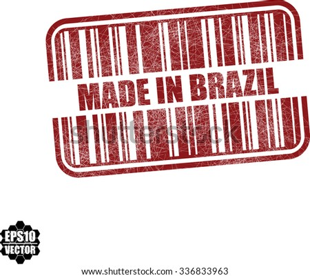 Made in Brazil - red barcode grunge rubber stamp design isolated on white background. Vintage texture. Vector illustration - stock vector