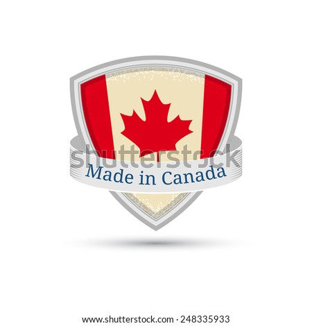 Made in Canada, Canada flag label on the shield EPS10 - stock vector