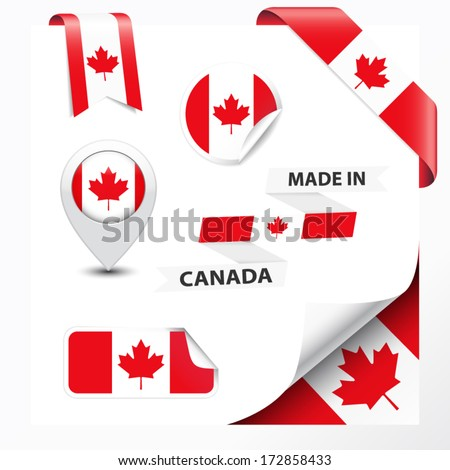Made in Canada collection of ribbon, label, stickers, pointer, badge, icon and page curl with Canadian flag symbol on design element. Vector EPS10 illustration isolated on white background. - stock vector