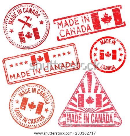 Made in Canada. Rubber stamp vector illustrations  - stock vector