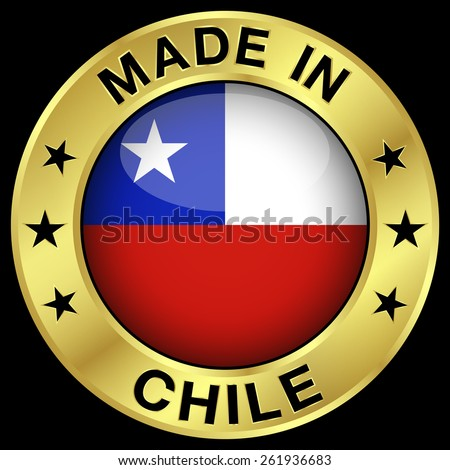 Made in Chile gold badge and icon with central glossy Chilean flag symbol and stars. Vector EPS 10 illustration isolated on black background. - stock vector