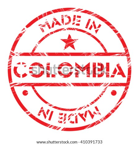Made in Colombia grunge rubber stamp - stock vector