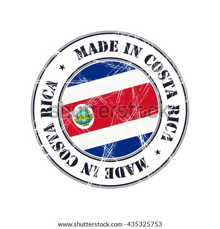 Made in Costa Rica grunge rubber stamp with flag - stock vector