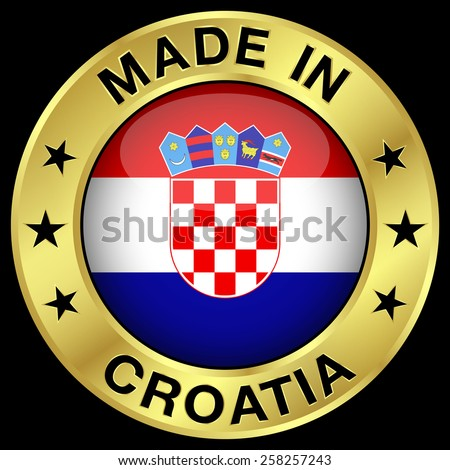 Made in Croatia gold badge and icon with central glossy Croatian flag symbol and stars. Vector EPS 10 illustration isolated on black background. - stock vector