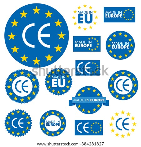 Made in European Union labels, badges and stickers  - stock vector