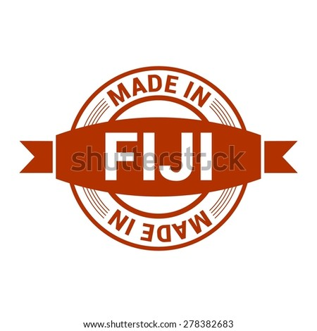 Made in Fiji - Round red rubber stamp design isolated on white background. vector illustration vintage texture. - stock vector