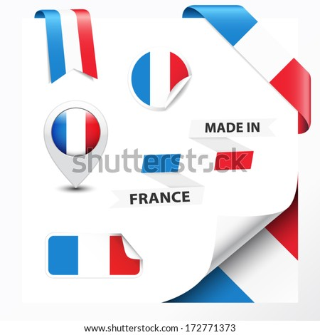 Made in France collection of ribbon, label, stickers, pointer, badge, icon and page curl with French flag symbol. Vector EPS10 illustration isolated on white background. - stock vector