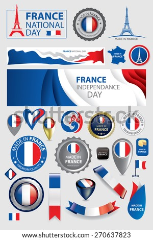 Made in France Seal Collection, French Flag, Abstract Background, National Day (Vector Art) - stock vector
