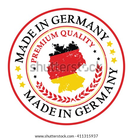 Made in Germany grunge printable label. Grunge label - Made in Germany, with German flag colors and map. CMYK colors used - stock vector
