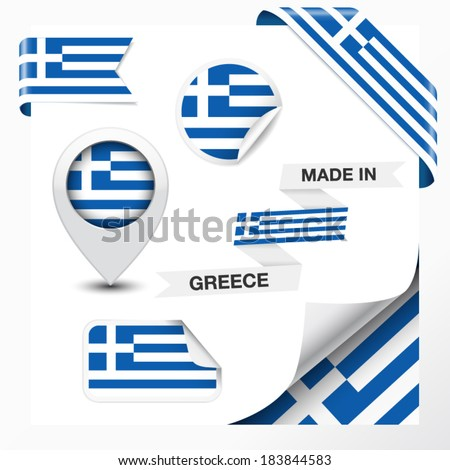 Made in Greece collection of ribbon, label, stickers, pointer, icon and page curl with Greek flag symbol on design element. Vector EPS 10 illustration isolated on white background. - stock vector