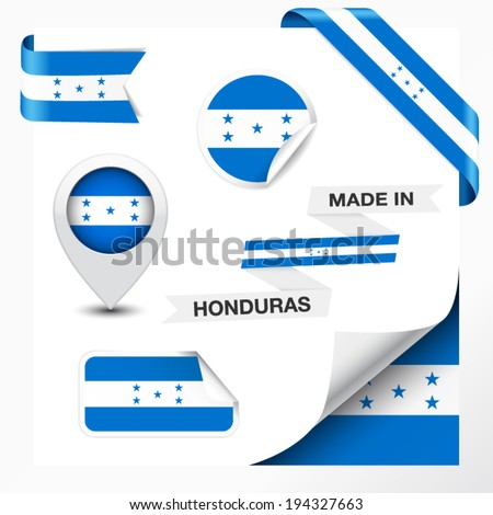 Made in Honduras collection of ribbon, label, stickers, pointer, badge, icon and page curl with Honduran flag symbol on design element. Vector EPS 10 illustration isolated on white background. - stock vector