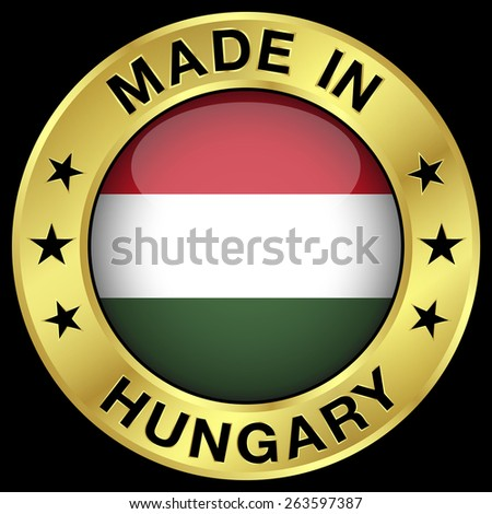 Made in Hungary gold badge and icon with central glossy Hungarian flag symbol and stars. Vector EPS 10 illustration isolated on black background. - stock vector