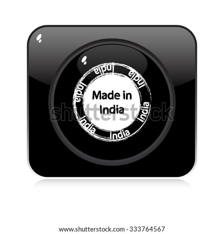 made in india - button - stock vector
